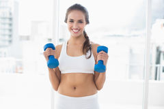 Cheerful sporty brunette holding dumbbells Royalty Free Stock Photography