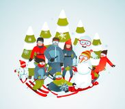 Cheerful Sporty Group of Skiers Snowboarders and Royalty Free Stock Photos