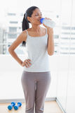 Cheerful sporty young woman drinking Royalty Free Stock Images