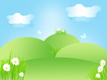 Cheerful spring landscape in green, blue and white, illustration. Royalty Free Stock Photography