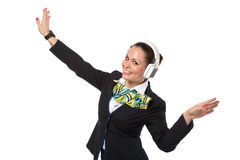 Cheerful stewardess Royalty Free Stock Photography