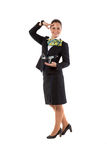 Cheerful stewardess with model airplane Stock Photos