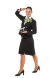 Cheerful stewardess with model airplane Royalty Free Stock Photography