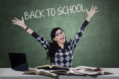 Cheerful student celebrate back to school Stock Photo
