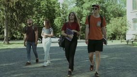Cheerful student friends going to university. Cheerful student friends with textbooks and backpacks going to university. Group of college students walking in stock footage