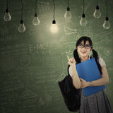 Cheerful student getting bright inspiration Stock Images