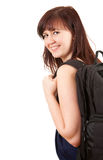 Cheerful student girl with black backpack Stock Photo