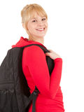 Cheerful student girl with black backpack Royalty Free Stock Image
