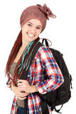 Cheerful student girl with rucksack Stock Images