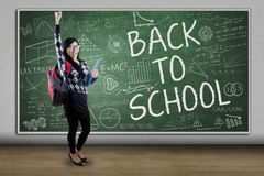 Cheerful student with text Back to School Royalty Free Stock Image