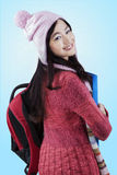 Cheerful student wearing knitted clothes Stock Image
