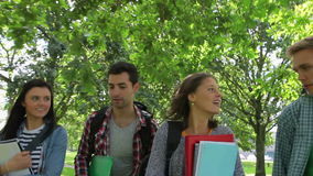 Cheerful students walking outside