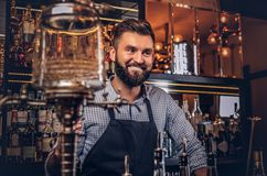 Cheerful stylish bearded bartender in a shirt and apron standing at bar counter background. Cheerful stylish bearded barman in a shirt and apron standing at bar Royalty Free Stock Photo