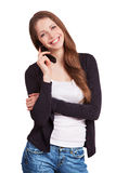 Cheerful girl talking on a mobile phone Stock Photos