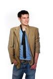 Cheerful stylish student. Isolated on white background Stock Photo