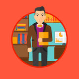 Cheerful successful businessman. A bisinesman holding a file in office . Vector flat design illustration in the circle  on red background Stock Image