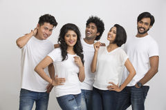 Cheerful successful group of Indian students Royalty Free Stock Photography