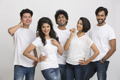 Cheerful successful group of Indian students Stock Image