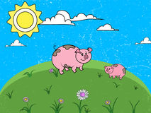 A cheerful summer landscape. Glade with flowers. Two lovely pigs are walking in the meadow. Cartoon flat landscape Stock Photo