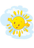 The cheerful sun Stock Images