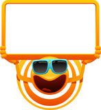 Cheerful sun character with sign. Vector illustration of cheerful sun character with sign Royalty Free Stock Photos
