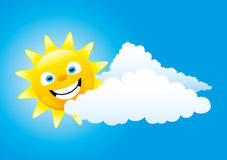 Cheerful sun and clouds. Royalty Free Stock Photos
