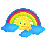 Sun in the clouds and the rainbow Royalty Free Illustration