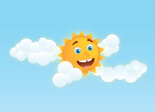 Cheerful sun. Cute sun illustration / clipart with clouds on blue background Stock Images
