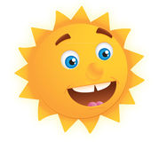 Cheerful sun. Cute sun illustration / clipart isolate on white background Royalty Free Stock Photo