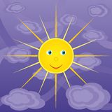 Cheerful sun in the sky Stock Images