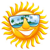 Cheerful sun in sunglasses. With the reflection of a tropical island stock illustration