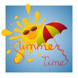 A cheerful sun in sunglasses peeks out from behind an umbrella in the blue sky. Royalty Free Stock Photography