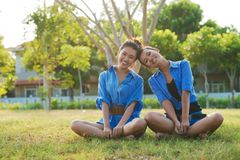 Cheerful sunny girls Stock Images
