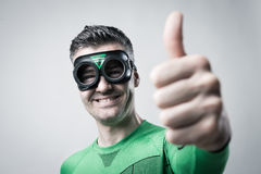 Cheerful superhero thumbs up Royalty Free Stock Image