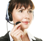 Cheerful support phone operator in headset Royalty Free Stock Photos