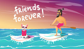 Cheerful surfer and dog are relax stock illustration
