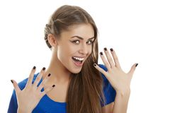 Cheerful surprised woman Stock Photography