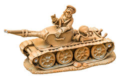 Cheerful tanker on the tank, clay sculpture isolated Royalty Free Stock Image