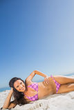 Cheerful tanned brunette posing Royalty Free Stock Photos