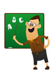 Cheerful teacher pointing to blackboard Stock Photos