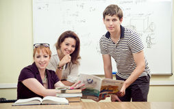 Cheerful teacher with students Royalty Free Stock Photo