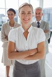 Cheerful team of business people standing together Stock Photo