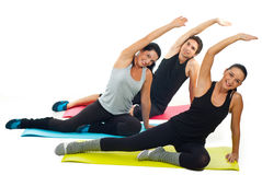 Cheerful team of people doing fitness Royalty Free Stock Images