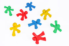 Cheerful team of plasticine guys Stock Images