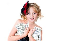 Cheerful teen girl bunch of bills isolated Royalty Free Stock Photography