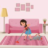 Cheerful teen girl cleaning carpet with vacuum cleaner at living room. Child helping with housework. Sofa, lamp, flower. On table and pictures on wall. Cartoon stock illustration