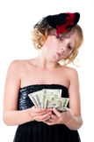 Cheerful teen girl holing a bunch Royalty Free Stock Photos