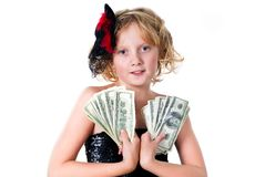 Cheerful teen girl holing a bunch of bills Stock Photography