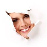 Cheerful teen girl peeping Royalty Free Stock Image