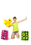 Cheerful teen girl with shopping bags Royalty Free Stock Photography
